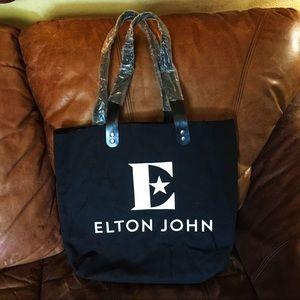 NWOT Elton John Black Canvas Tote Bag